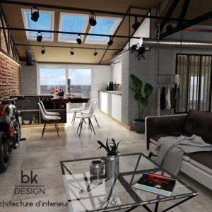Salon Salle à Manger d'un Loft Industriel à Fontoy style Industriel