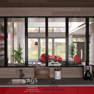 Cuisine / Salon d'une Maison individuelle à Rémilly style contemporain