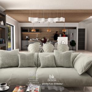 Salon Séjour d'une Maison Individuelle à Kuntzig style contemporain