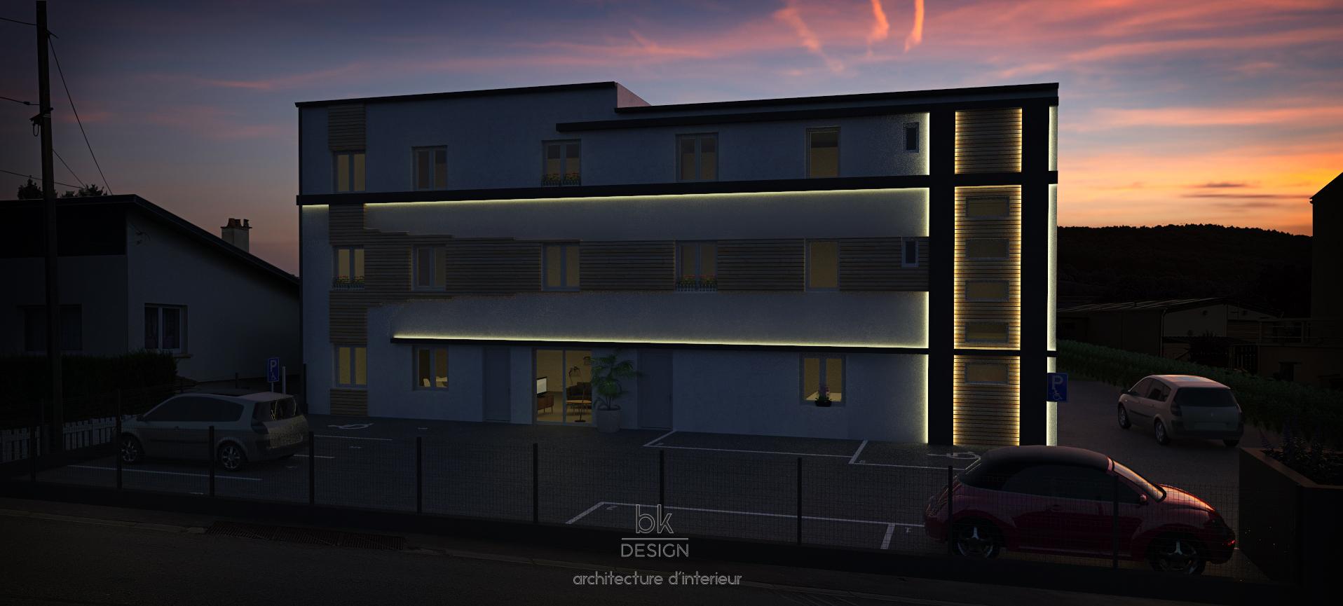Façade Du0026#039;immeuble à Marange Silvange De Nuit En Lorraine